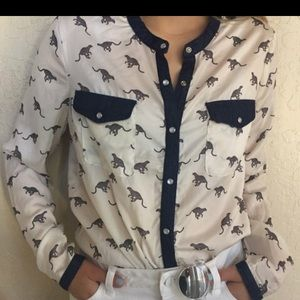 Forever 21 Cheetah & Denim Blouse